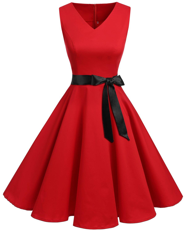 3129d351ed0 Bridesmay Women s V-Neck Audrey Hepburn 1950s Vintage Cocktail Rockabilly Swing  Dress Red XL