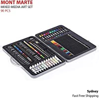 Mont Marte Mixed Media Art Set 90pcs Paint Acrylic Pencils Brushes Metal Case