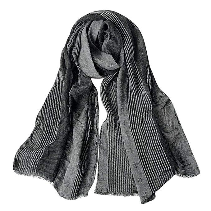8781f79fd GERINLY Cotton-Linen Scarves Mens Stripe Crinkle Long Scarf (Black ...