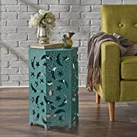 Carusa Indoor 14 Inch Crackle Teal Iron Moon and Stars Side Table