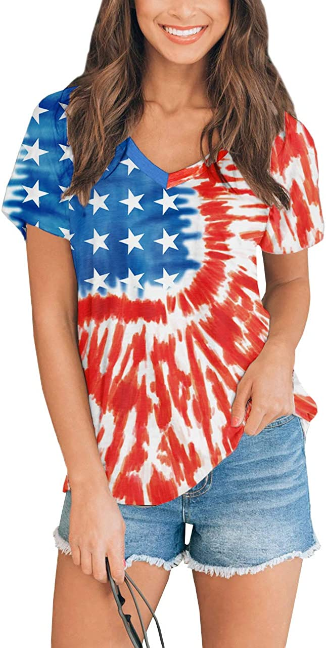 For G and PL Women's July 4th American Flag T Shirts