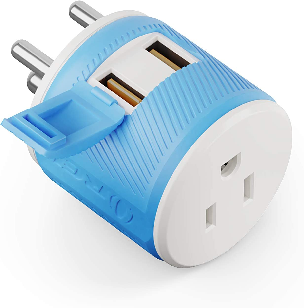 India, Nepal, Maldives Travel Plug Adapter by OREI with Dual USB - USA Input + Surge Protection - Type D (U2U-10), Will Work with Cell Phones, Camera, Laptop, Tablets, iPad, iPhone and More