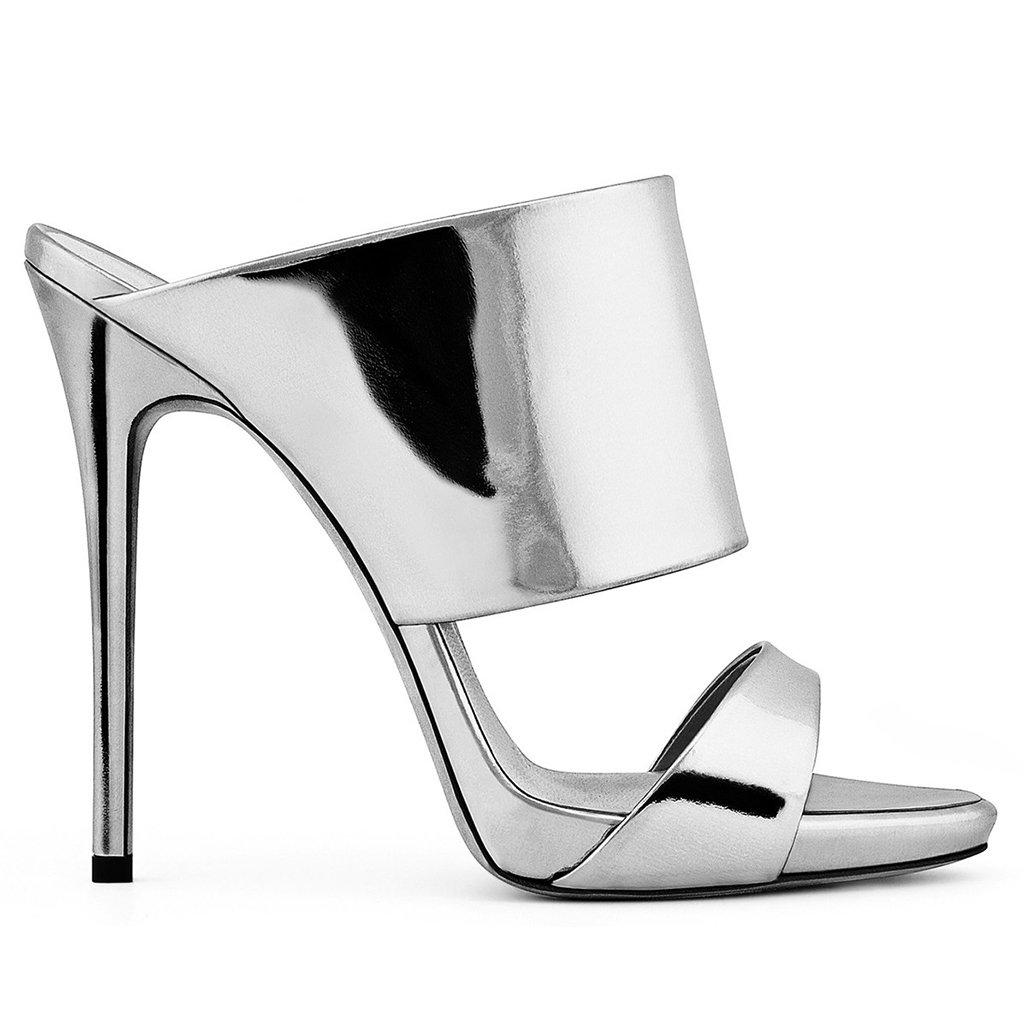 Sandalias De Tacón Alto para Mujer Champagne Plateado Lujoso De Tacón Alto Cómodo (Altura del Tacón: 3-5 CM),Silver,40 40|Silver