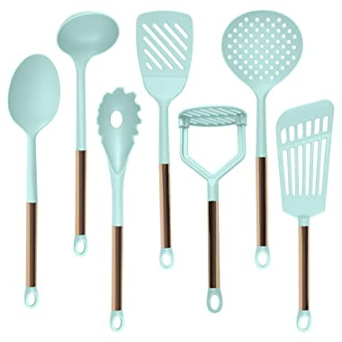 COOK With COLOR 7 Piece Nylon Cooking Utensil Set with Copper Handles - Mint Green