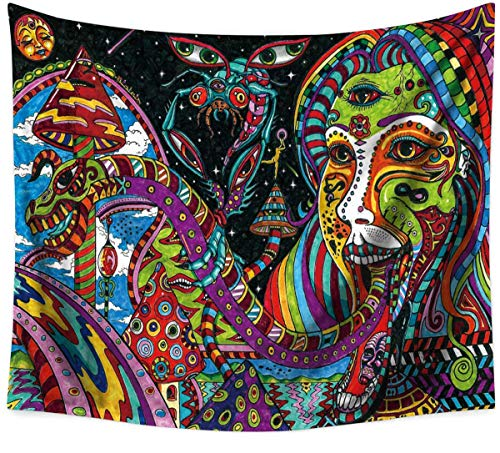Sandeye Colorful Psychedelic Tapestry Wall Hanging Fantasy Magical Arabesque Tapestry Ethnical Abstract Intricate Vision Hippie Mandala Bohemian Decor for Bedroom Living Room Dorm (01, L/59.1