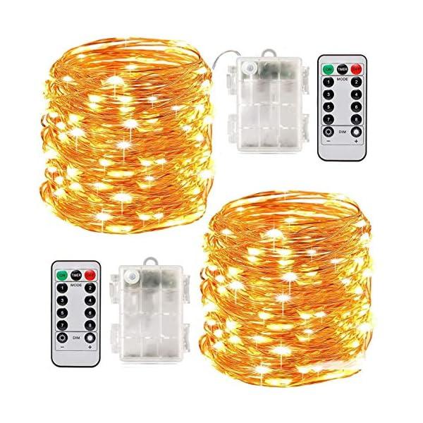 Stringa Luci LED, 2 x 10M Catena Luminosa Batteria Luci Natale 100 LEDs per Natalizie Decorazioni Interno ed Esterno Telecomando 8 Modalità Impermeabile(Giallo Caldo) 1 spesavip