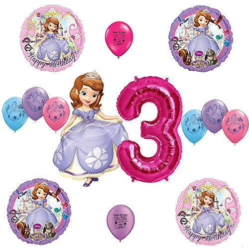 Sofia the First Happy 3rd Third Birthday Balloon Decorating (Sofia The First Centerpieces)
