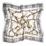 ETSYG 32 Silk Scarf Women's Beige Chain Pattern Large Square Satin Headscarf Headdress