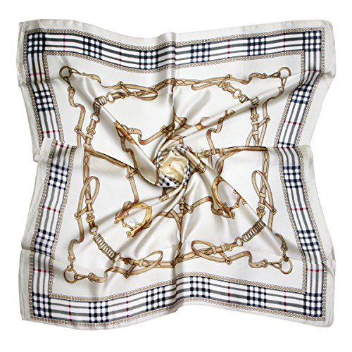 "ETSYG 32"" Silk Scarf Women's Beige Chain Pattern Large Square Satin Headscarf Headdress"