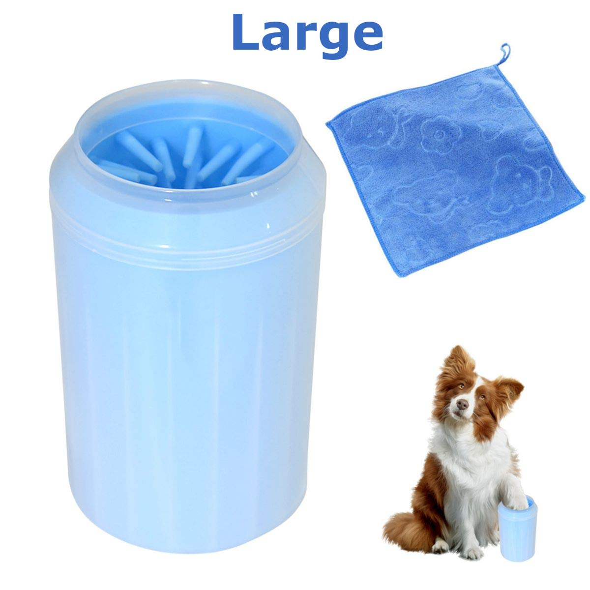 U-pick Pet Paws Cleaner Large Dog Paw Washer with Towel Feet Scrubber Claw Cleaning Cup for Large Small Breed (Blue)