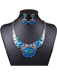 Luxury Indian Vintage Costume Jewelry Chunky Collar Resin Necklace Stud Earring Set