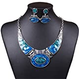 SDLM Luxury Indian Vintage Costume Jewelry Chunky Collar Resin Necklace Stud Earring Set,blue