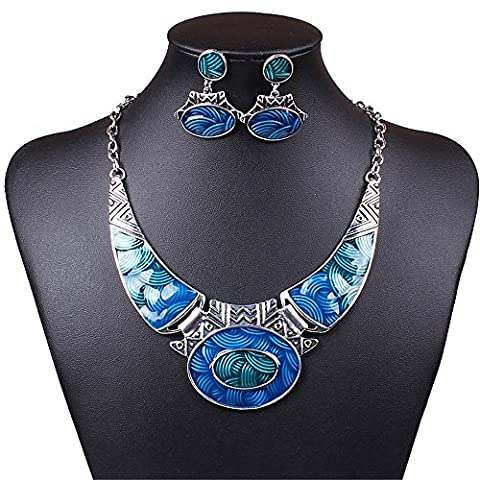 SDLM Luxury Indian Vintage Costume Jewelry Chunky Collar Resin Necklace Stud Earring Set,blue (Womens Chunky Jewelry)