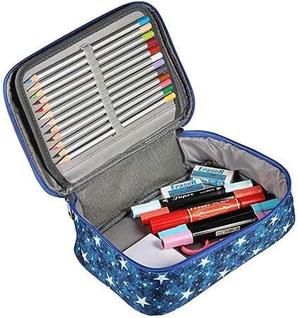 AOOCEEH Pencil Cases Estuche Lapices Estuche 3 Compartimentos Estuche De Lápices para Chicas Adolescentes Lindo Lápiz Caso Estuches Grandes para Niñas Adolescentes Blue: Amazon.es: Hogar