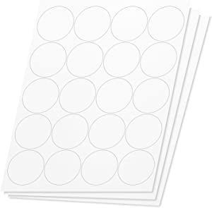OfficeSmartLabels Round Circle Dot 2 inch Diameter Stickers Labels for Laser & Inkjet Printers, 2 Inch, 20 per Sheet, White, 3000 Labels, 150 Sheets