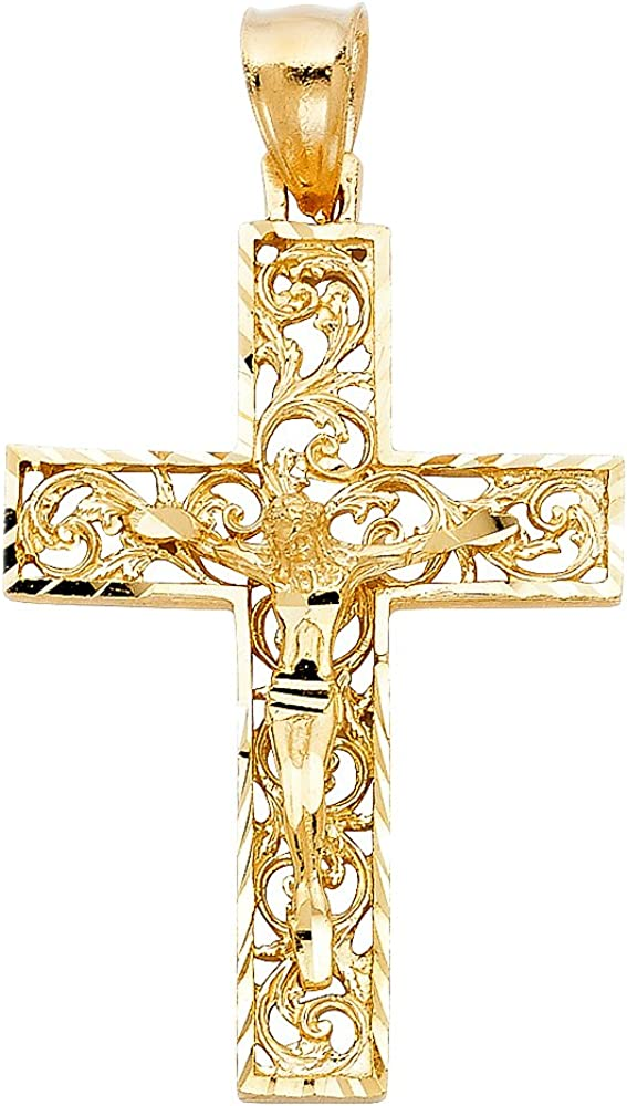 14k Yellow Gold Religious Crucifix Pendant
