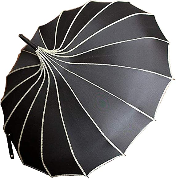 Pagoda Peak Old-Fashionable Ingenuity Umbrella Parasol Black