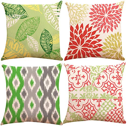 ZUEXT Set of 4 Double Sided Print New Living Series Throw Pillow Covers 18x18 Inch, Yellow Red Green and Grey Geometric Decorative Cotton Linen Cushion Cases 45cm x 45cm for Car Sofa Bed Home Decor