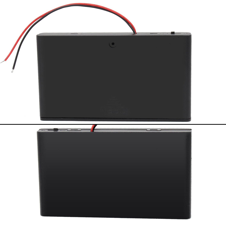 KEESIN AA 12V bater/ía titular caso caja de almacenamiento de la bater/ía de pl/ástico con interruptor ON//OFF y cierre Cable Ties