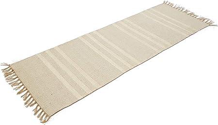 Coton Naturel et Jute Gris Triple Blanc à Rayures Tapis de Couloir 70 cm x  200 cm