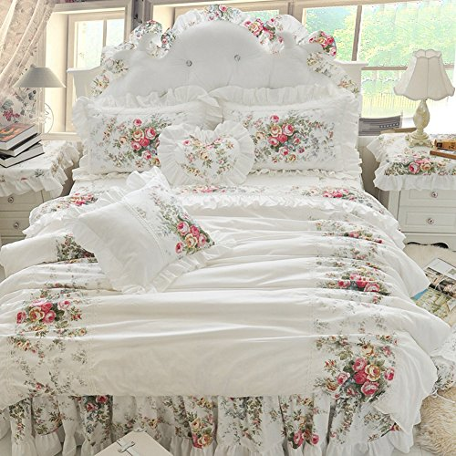 MeMoreCool Romantic White Princess Bedding Set,Elegant Rustic Vintage Floral Duvet Cover Set,Girly Ruffled Bed Skirt,3-Piece,Twin