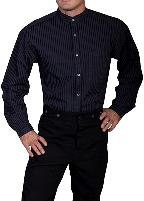 Men's Vintage Workwear Inspired Clothing Scully Mens Wahmaker by Striped Button Long Sleeve Western Shirt Big - Rw221-Blk-B $59.44 AT vintagedancer.com