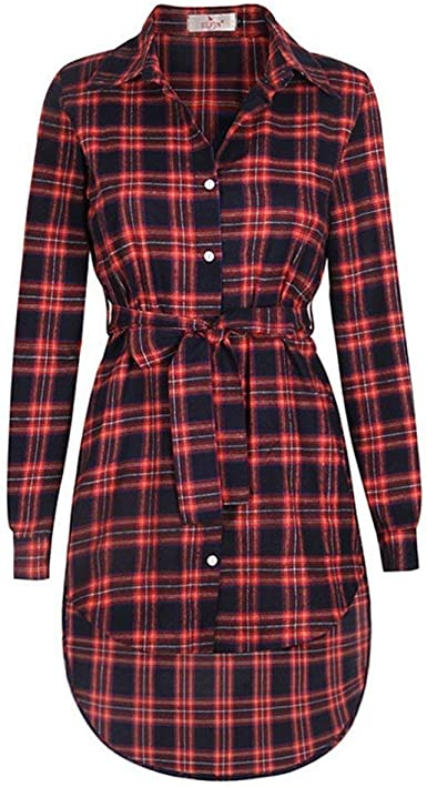 Vestidos Camiseros Mujer Vintage Clásica A Cuadros Blusa ...