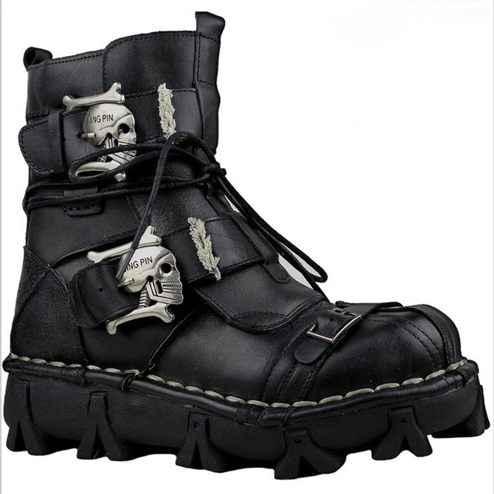 Mens Black Genuine Leather Military Army Boots Gothic Skull Punk Motorcycle Boots