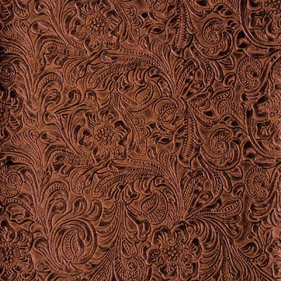54'' Wide Faux Leather Fabric Tooled Floral Copper By The Yard (fake leather upholstery - Leather Tooled