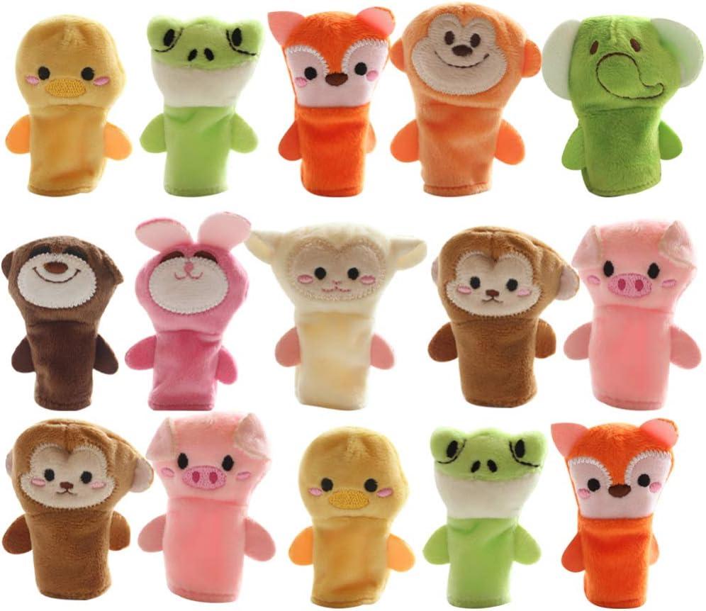 TOYANDONA 15Pcs Animales de Peluche Juguetes de Marionetas de Dedo Marionetas de Dedo de Animales Juguete Educativo para Niños Manos Suaves Marionetas de Dedo Juego para Bebés Niños Navidad