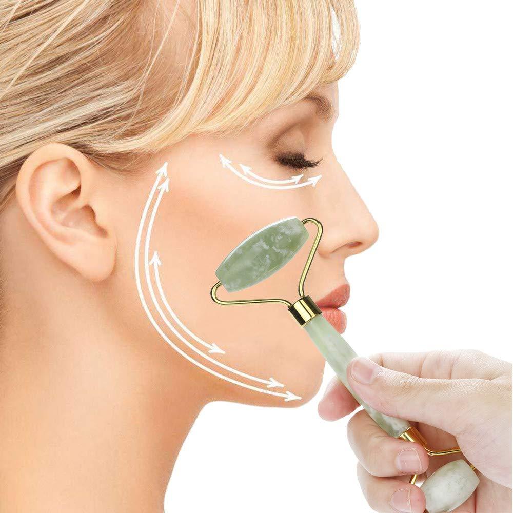 Facial Roller Massager, QHJ Natural Jade Guasha Facial Jade Roller Face Body Massager (Green)