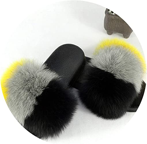 2018 Fashion Women Slides Fluffy Large Real Fox Fur Slipper Flat Shoes Sandal