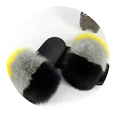 7b4b3d8853e Fox Fur Slides Big Size Open Toe Fluffy Slippers Slip Low Platform Flip  Flops Furry Flat