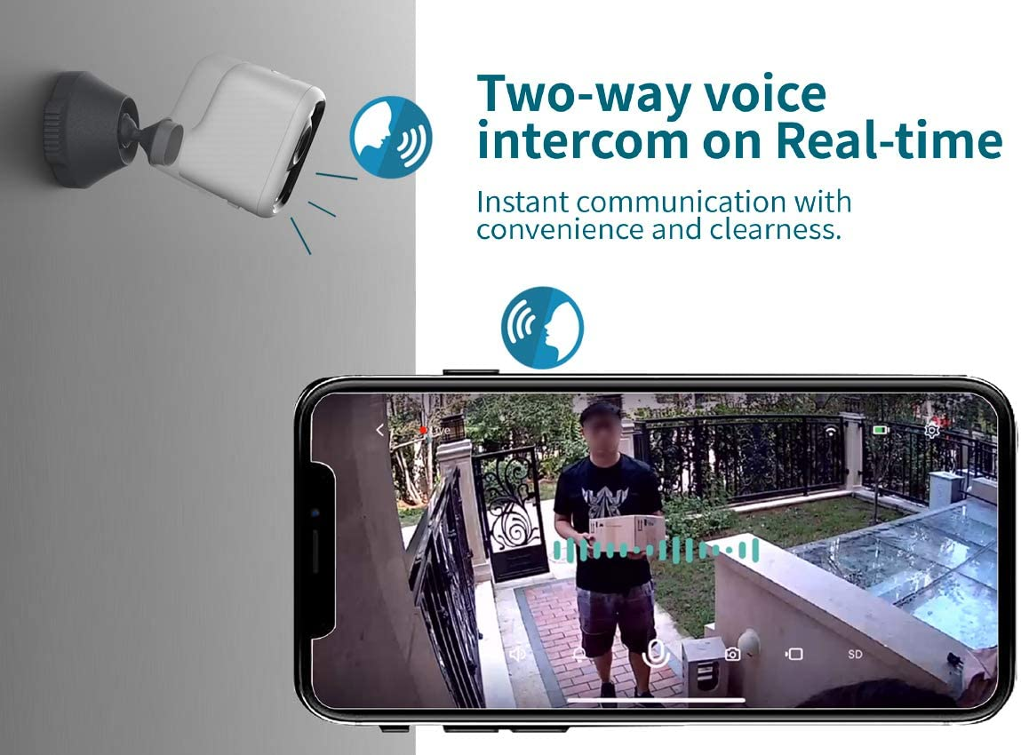 Safamily1080P Wireless Camera Outdoor Indoor, 6400mah Battery Powered Security Digital Camera with Night Vision,2-Way Audio,Motion Sensor,IP65 Weatherproof,Magnetic Mount, 2.4G WiFi Only