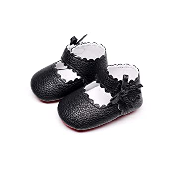 ecc6acdb335d8 Cute Baby Shoes,Newborn Baby Girls Boys Soft Sole Wave Bowknot Toddler  Shoes (Age:6-12M, black)