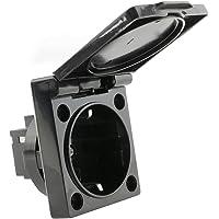 BeMatik - Schuko inbouwstekker IP44 met schroef met zwarte kap