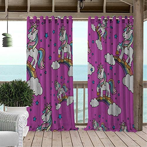 Gazebo Waterproof Curtains Unicorn Ra Bow Rose Red Porch Grommets Decor Curtain 120 by 84 inch