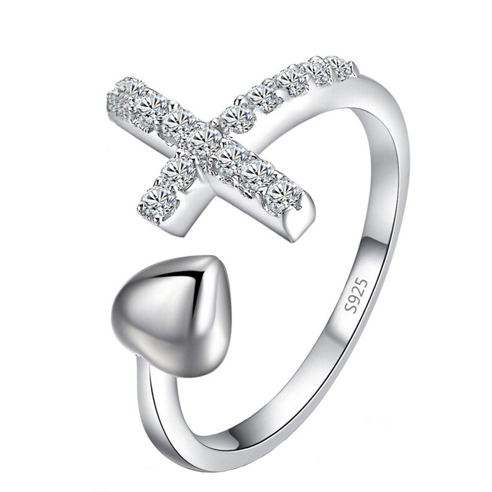 Guirui Jewelry Cute Cross Heart Rings for Women Girls - Rhinestone Decorated Silver Plated Open Rings for Ladies