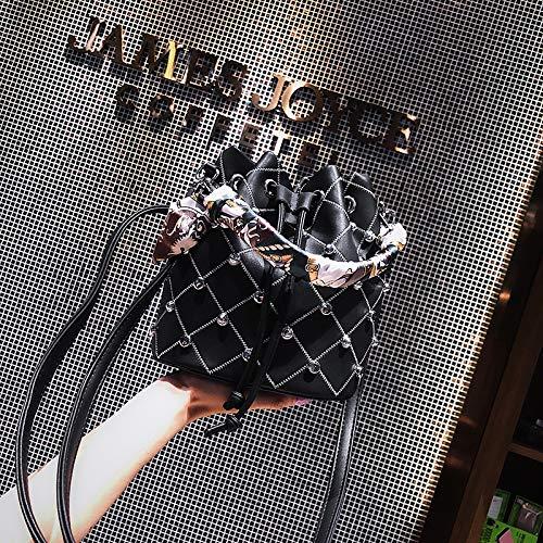 main à automne Fashion des et sac bandoulière épaule hiver sac petit broderie seau Yukun à Noir Rivetto femmes Beige Eq65p8px