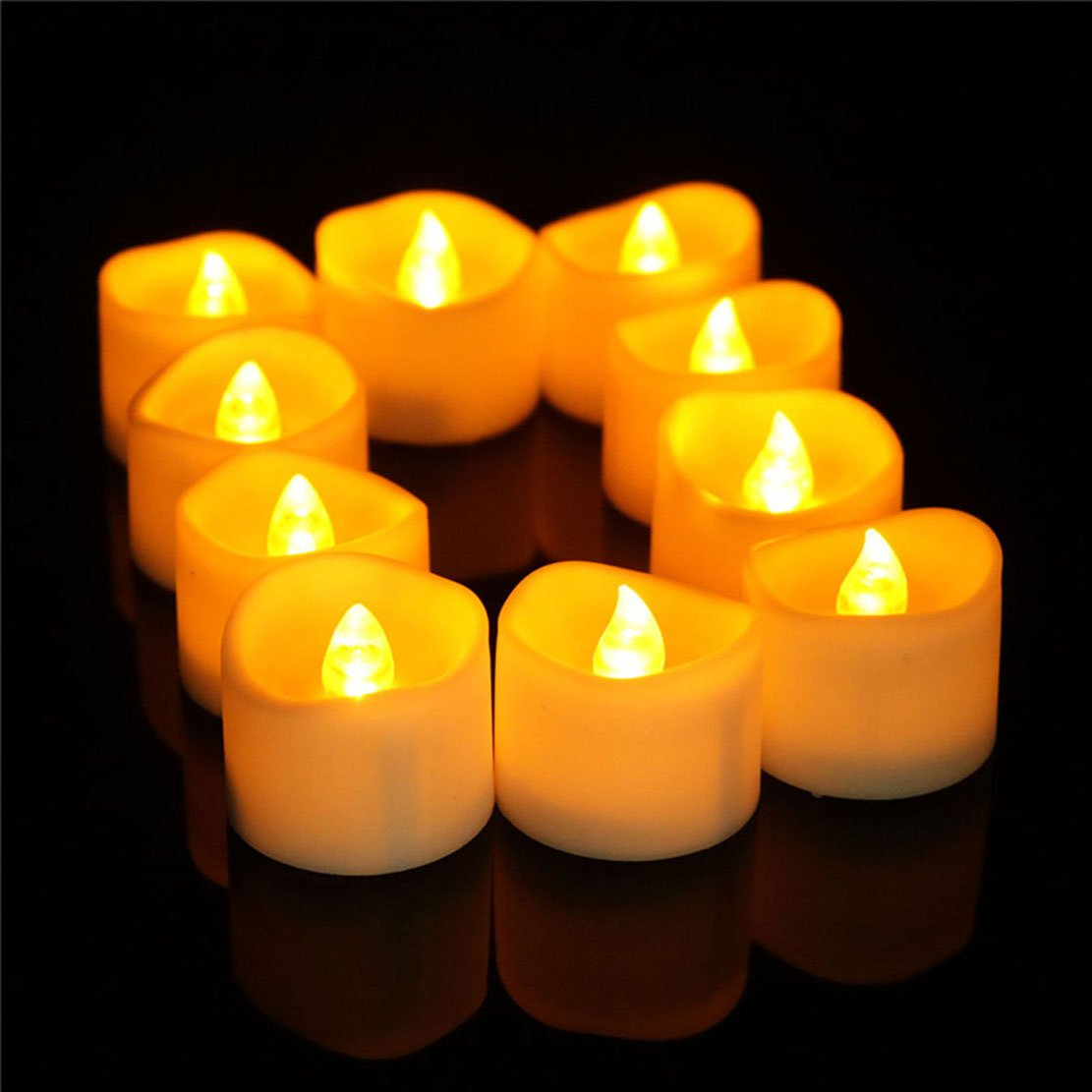Allcute 48 Wavy Led Mini Candles Bulk 100, Flickering Flameless Tea Lights Battery Operated Amber Yellow for Church, Table, Xmas, Graves, Indoor Outdoor