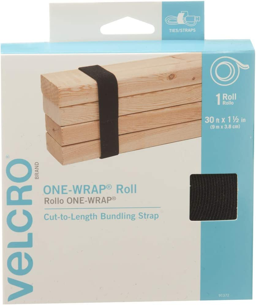 VELCRO Brand ONE-WRAP Roll Black | 30 Ft x 1-1/2 In | Reusable Self-Gripping Hook and Loop Tape | Cut Straps to Bundle Tie Materials and Tools in Garage Shed or Worksite