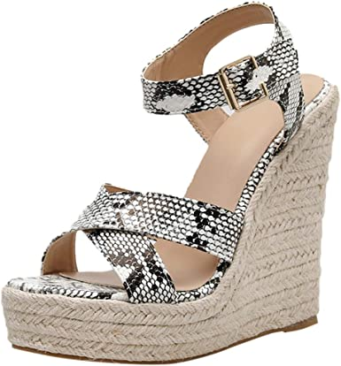 New Women Platform Wedge Strappy Open Toe High Heel Gladiator Shoes Sandals Size