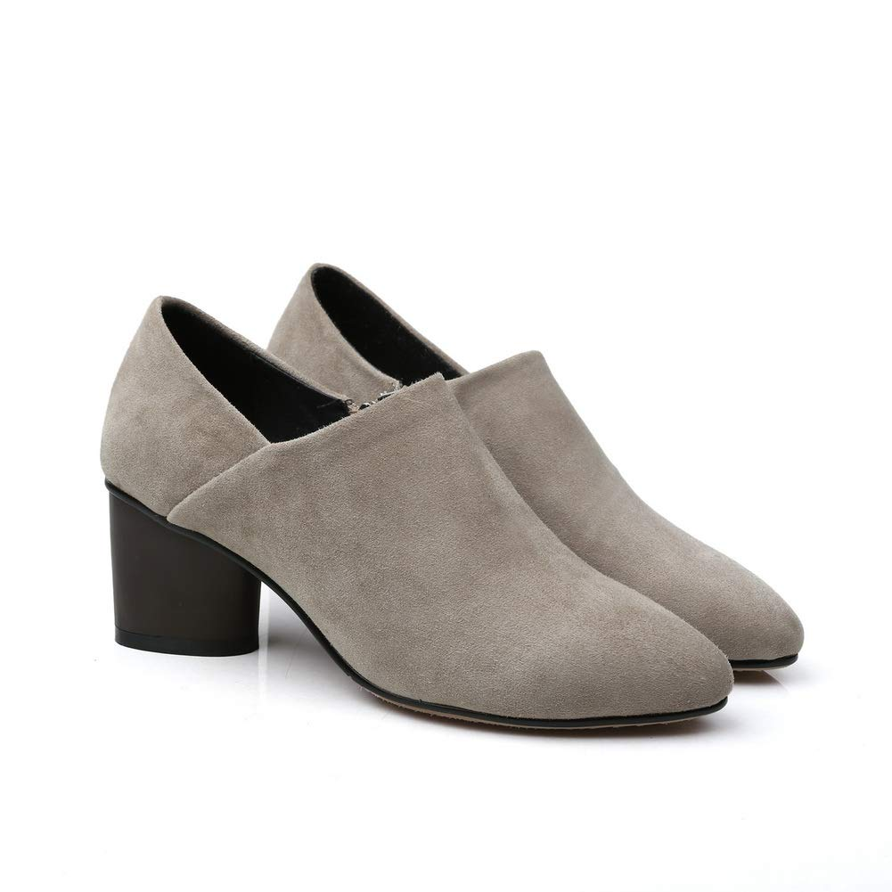 AN Womens Chunky Heels Pointed-Toe Leather Pumps Shoes DGU00843