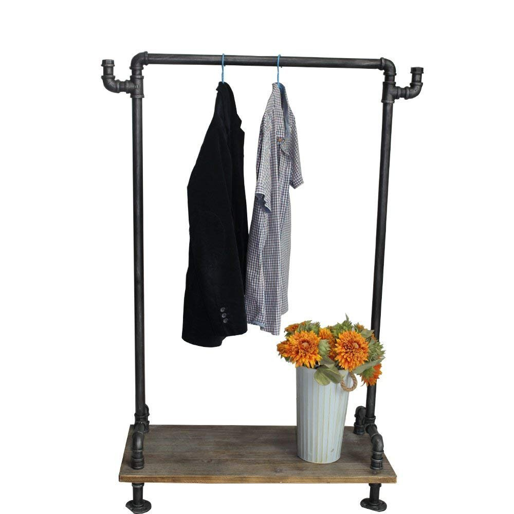Industrial Pipe Clothing Rack Wood Garment Rack Pipeline Vintage Rolling Rack with Wheels (A) WGX Design For YOU