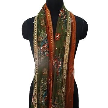 material de bordado dupatta nupcial indios de la mano utilizó estola del abrigo del hijab neto reciclado pañuelos de tela marrón velo decoración: Amazon.es: ...