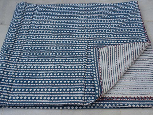 Tribal Asian Textiles Kantha Handmade Cotton Block Indigo Print Kantha Quilt Reversible Throw Sari