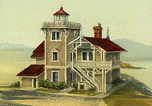East Brother Island Lighthouse California B&B Matted Watercolor Art Prints (8x10) (Brother East Lighthouse)