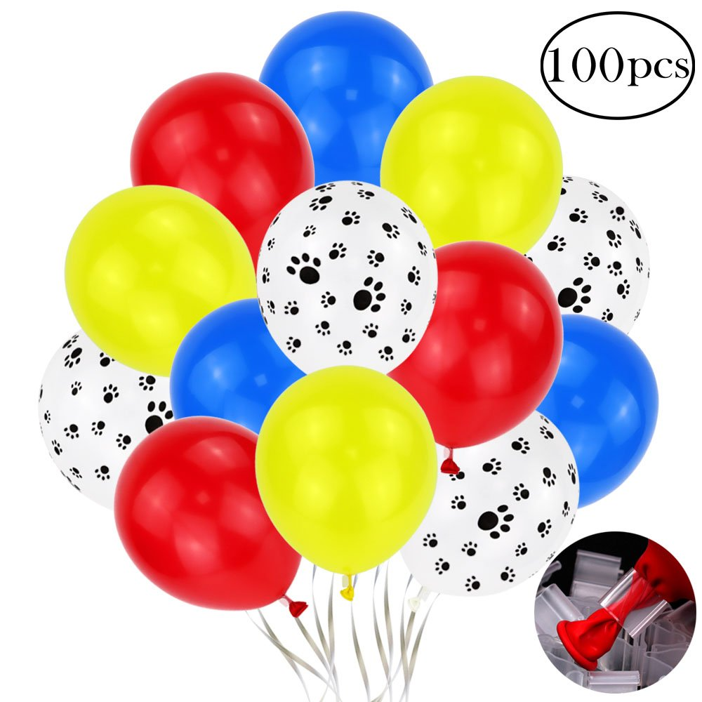 Holicolor 12inches 100pcs Colorful Latex Paw Print Balloons with Balloon Clips for Paw Party (Red, Yellow, Blue, Dog Paw)