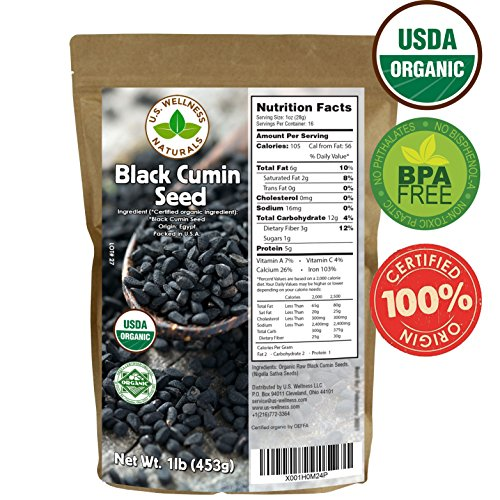 Black Cumin Seed 1lb (16Oz) (Bulk Nigella Sativa): 100% USDA Certified ORGANIC Bulk Egyptian Black Seeds (Black Caraway) - AKA Nigella or Kalonji, by U.S. Wellness Naturals ()