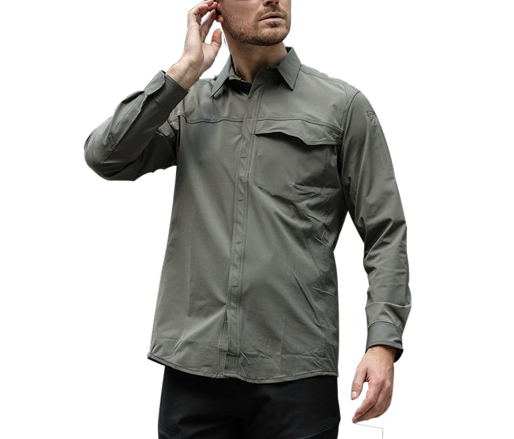 Long Sleeve Shirt Outdoor Tactical Lightweight Breathable Quick Dry for Men